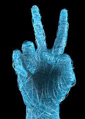 Mano segno e simbolo pace vittoria