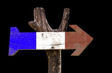 France wooden sign isolated on black background