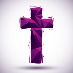 Violet cross geometric icon made in 3d modern style