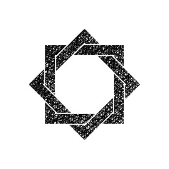 Eight point star vector symbol with hand drawn lines texture.