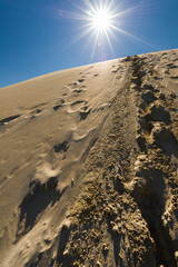 Footprints in sand dunes, Sahara, Morroco