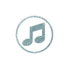 Musical note, vector icon with hand drawn lines texture.