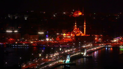 Galata Bridge and Night Traffic