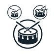 Snare drum icon, single color vector music theme symbol - 68130118