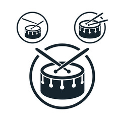 Snare drum icon, single color vector music theme symbol