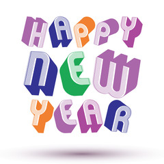 Happy New Year card with phrase made with 3d retro style geometr