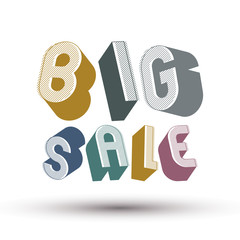 Big Sale advertising phrase, 3d retro style geometric