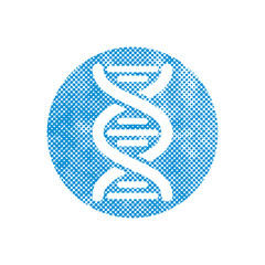 DNA vector icon with pixel print halftone dots texture.