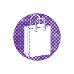 Shopping Bag vector icon with pixel print halftone dots texture.