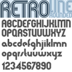 Retro triple line stripes font, pattern old style alphabet.
