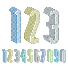 3d extra tall numbers set with lines textures.