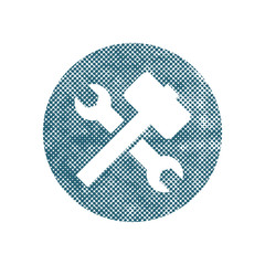 Repair icon with wrench and hammer, vector symbol with pixel