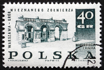 Postage stamp Poland 1968 Tomb of the Unknown Soldier, Warsaw