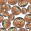 Faces seamless background, vector cartoon style pattern