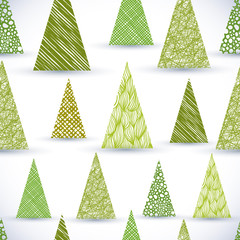 Christmass tree seamless pattern, hand drawn