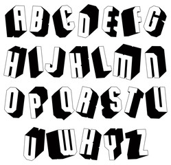 Geometric black and white 3d font.