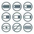 Battery charge indicator icons isolated on white background