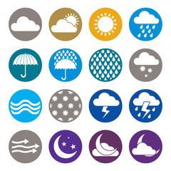 Weather icons isolated on white background vector set