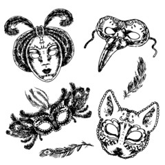 Carnival mask icon sketch set
