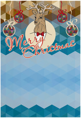 Christmas background with deer for simple text