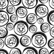 Faces seamless background, vector cartoon style
