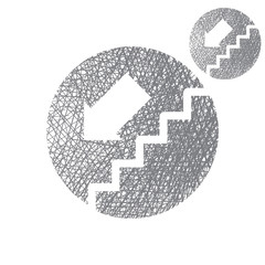 Stairs down vector simple single color icon isolated
