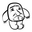 Sad cartoon monster, black and white illustration