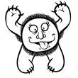 Foolish cartoon monster, black and white