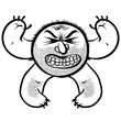 Angry cartoon monster with stubble, black and white