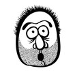 Funny cartoon face with stubble, black and white