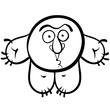 Funny cartoon monster, black and white