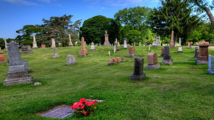 Timelapse view in a cemetery with blue skies