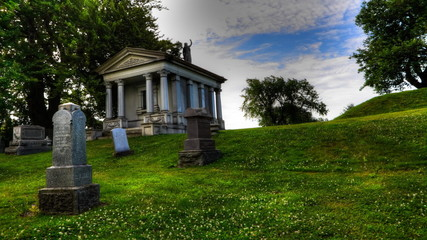 Timelapse view in a cemetery with mausoleum