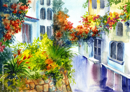 Obraz na Szkle watercolor painting - flowers near the house