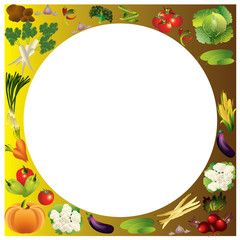 Vegetables vector background with place for text