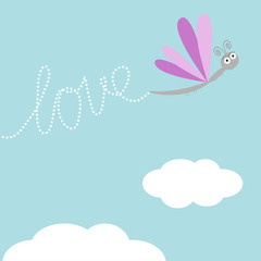 Flying dragonfly insect. Dash word Love in the sky. Flat