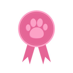 Badge with dog cat paw print ribbons Award icon flat  Dash line