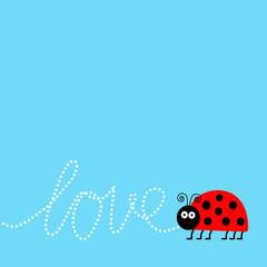 Ladybug ladybird insect. Dash word Love. Card Flat design.
