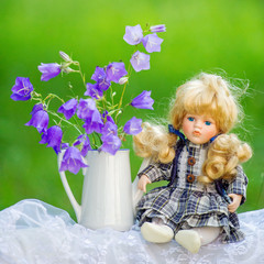 Bouquet of violet flowers and cute doll