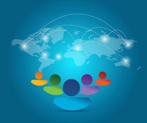 people diverse network illustration design