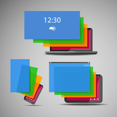 Laptop, Smart Phone and Tablet Icons with Colorful Layers