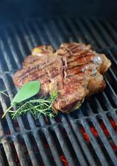 Beef steak grilled on a bbq, florentine t-bone beef steak.