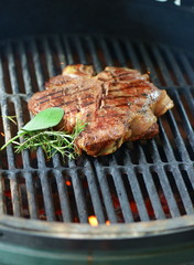 Beef steak grilled on a bbq, florentine t-bone beef steak.
