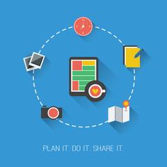 Plan it. Do it. Share it. - Flat Design Concept