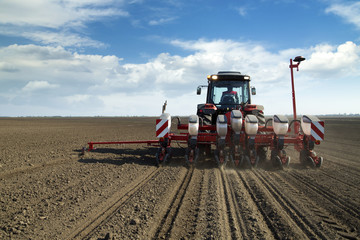 Farmer in tractor sowing corn maize crops