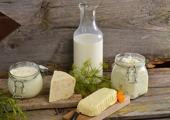 Organic dairy products on wooden table