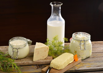Basket with tasty organic dairy products
