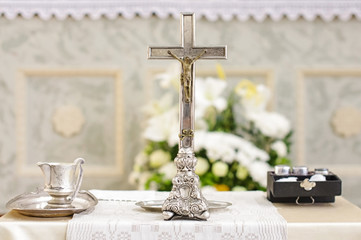Baptism accessories prepared for ceremony
