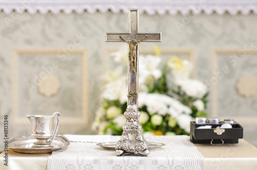 Baptism accessories prepared for ceremony - 68135346