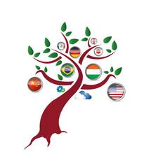 international flag tree illustration design